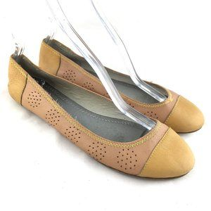 Pilcro ballet flats beige yellow perforated shoes